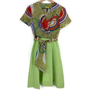 Vintage Leaf Green Dress Red Purple Blue Swirls